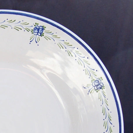 Bord Uni plate with Romantique 6 Blue Green hand painted decoration