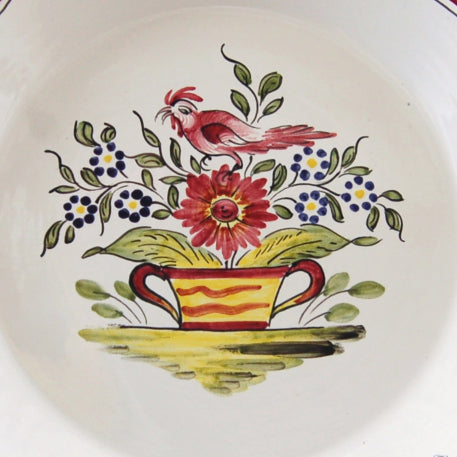 Creuse Feston PB shallow plate with Strasbourg Panier Coq hand painted decoration