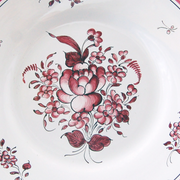 Bord Uni plate with Strasbourg 2 monochrome raspberry hand painted decoration