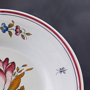 Bord Uni plate with Strasbourg Fleurs 6 hand painted decoration