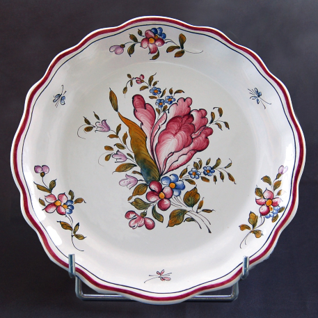 Creuse Feston Louis XV shallow plate with Strasbourg Fleurs 7 hand painted decoration