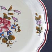 Creuse Feston Louis XV shallow plate with Strasbourg Fleurs 8 hand painted decoration