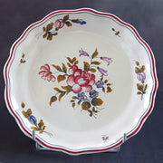 Creuse Feston Louis XV shallow plate with hand painted Strasbourg Fleurs 8 decoration