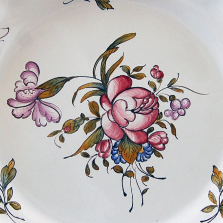 Creuse Feston Louis XV shallow plate with Strasbourg Fleurs 9 hand painted decoration