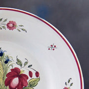 Bord Uni plate with Strasbourg Panier Fleurs with hand painted decoration