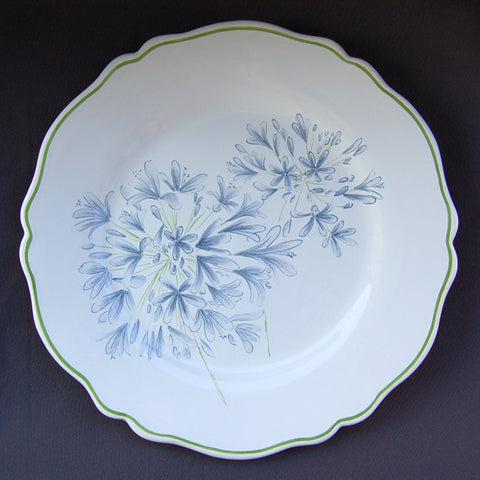 Feston plate with Agapanthe hand painted decoration