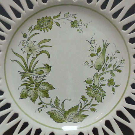 Openwork Chevet plate with St-Omer vert hand painted decoration