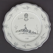 Feston plate with Montgolfière Grey - Je suis Libre hand painted decoration
