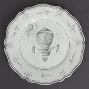 Feston plate with Montgolfière 3 Grey hand painted decoration