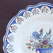 Feston plate with Rouen panier hand painted decoration