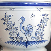 Anses anciennes planter with hand painted Moustiers blue decoration detail