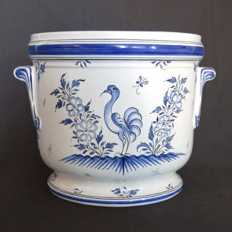 Earthenware anses anciennes planter with hand painted Moustier decoration