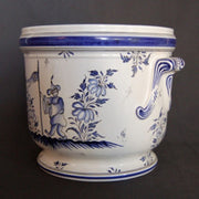 Earthenware anses anciennes planter with hand painted Moustiers blue decoration