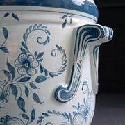 Anses anciennes planter with hand painted Delft decoration detail