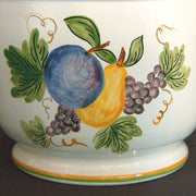 Anses anciennes planter with hand painted Antique Fruits decoration detail