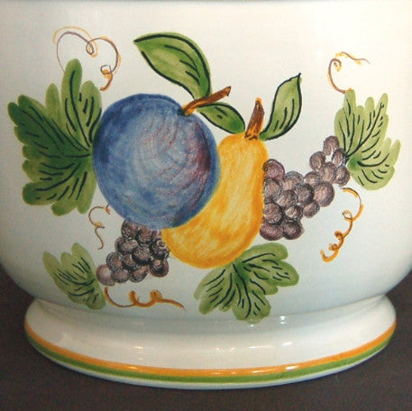 Earthenware anses anciennes planter with hand painted Antique Fruits decoration