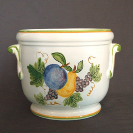 Earthenware planter with hand painted Antique Fruits decoration