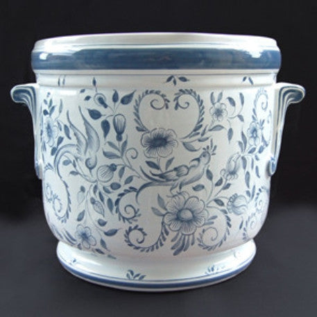 Anses anciennes planter with hand painted Delft decoration
