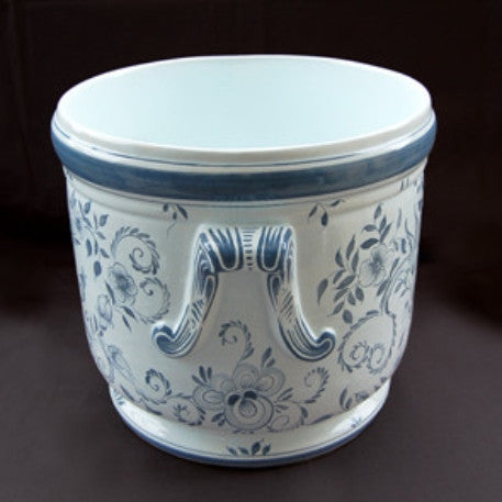 Earthenware anses anciennes planter with hand painted Delft decoration