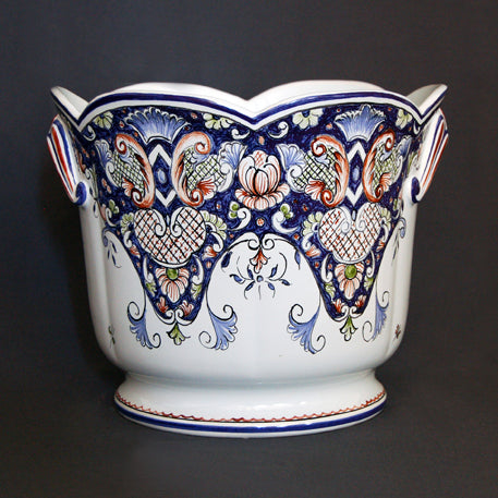 Earthenware a cotes Planter with hand painted Rouen decoration