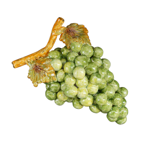 Bunch of earthenware green grapes
