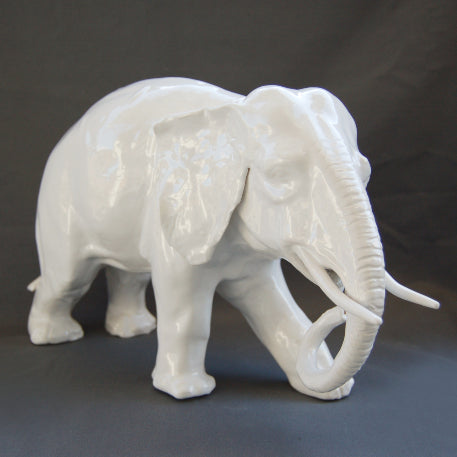 White Earthenware Medium Elephant