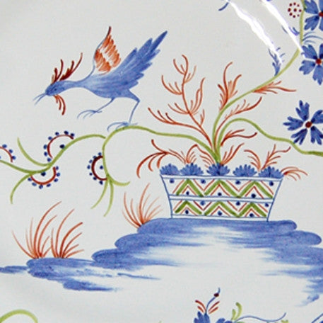 Rond Festons serving plate with La Rochelle hand painted decoration