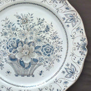 Rond Festons serving plate with Panier gris hand painted decoration