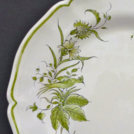 Rond Festons serving plate with St Omer Green hand painted decoration