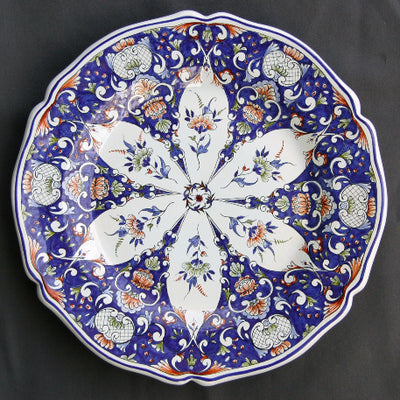 Rond Festons serving plate with Rouen Riche 1 hand painted decoration