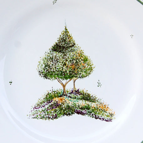 Feston plate with Topiaire 2 hand painted decoration