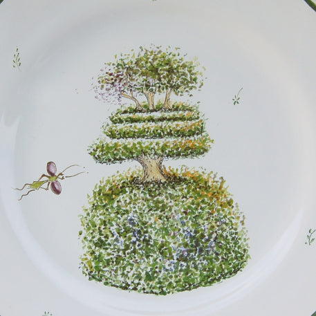 Feston plate with Topiaire 5 hand painted decoration