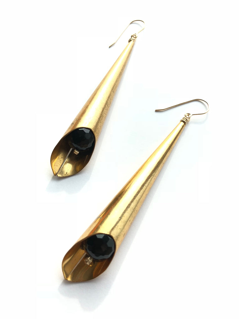 Vintage Brass with Onyx Earrings