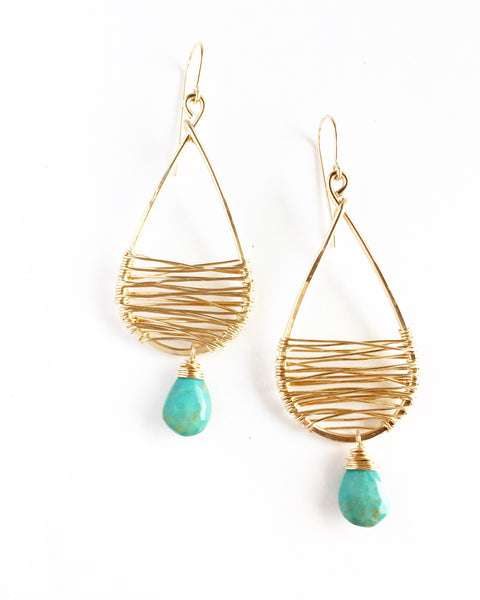 Wrapped Gold Tear Drops with Turquoise