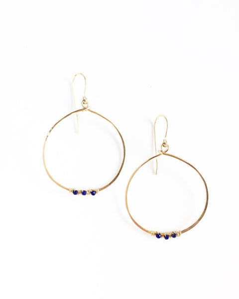Gold Hoops with Lapis