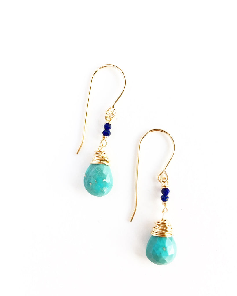 Faceted Turquoise and Lapis Drops