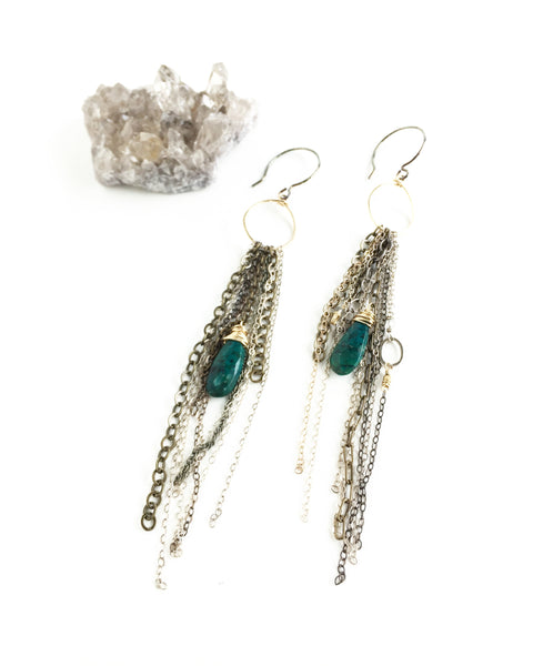 Chrysocolla and Chain Earrings