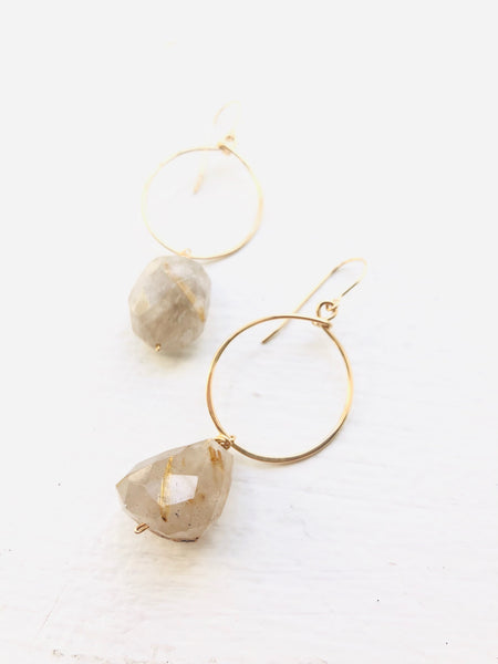 Rutilated Quartz Hoops