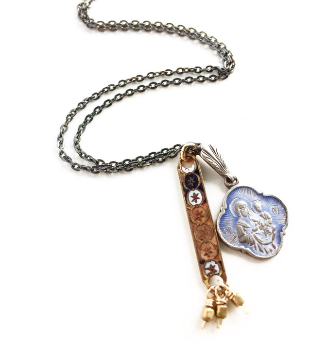 Bulgarian Mary Medallion and Antique Rosary Necklace