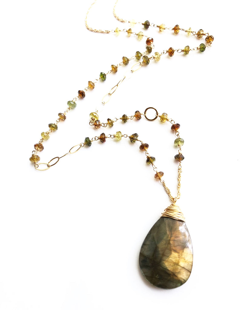 Labradorite + Tourmaline Necklace