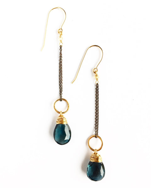 Blue Topaz Shift Earrings