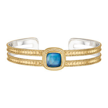 Lapis Square Double Bar Cuff