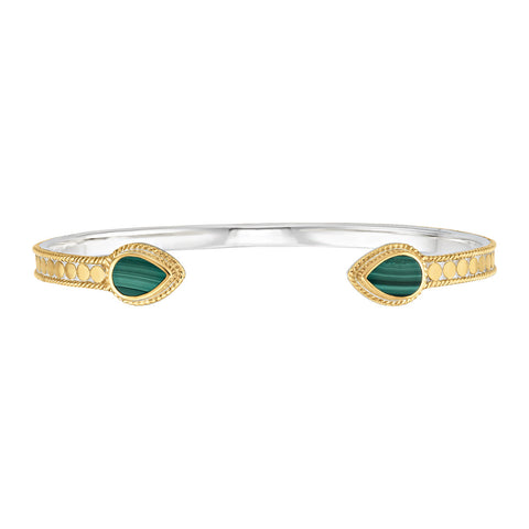 Malachite Open Teardrop Cuff