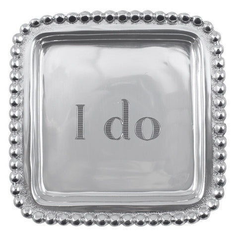 "Mariposa ""I do"" Beaded Square Tray"