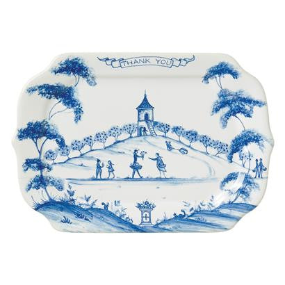 "Country Estate Delft Blue Gift Tray - ""Thank You"""