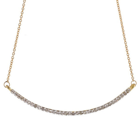 Pave Diamond Arc Necklace