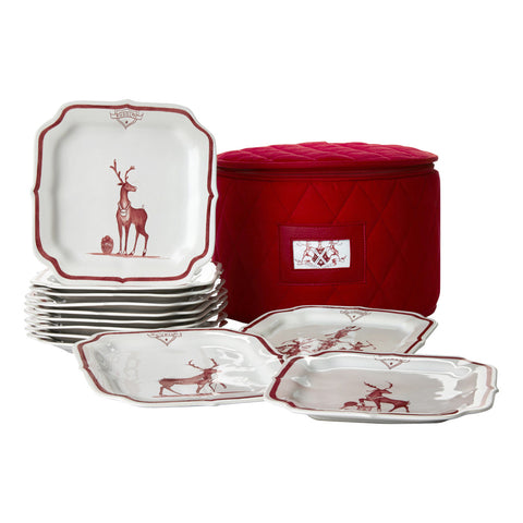 Juliska Country Estate Reindeer Games Ruby Party Plate Set
