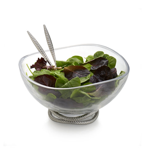 Nambé Braid Glass Salad Bowl w/ Servers