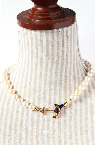 Kiel James Patrick Valerie Pearl Anchor Necklace