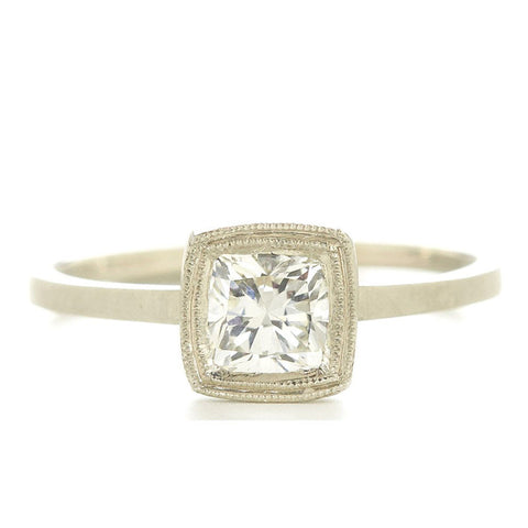 Jennifer Dawes Blockette Band with Cushion Cut Diamond
